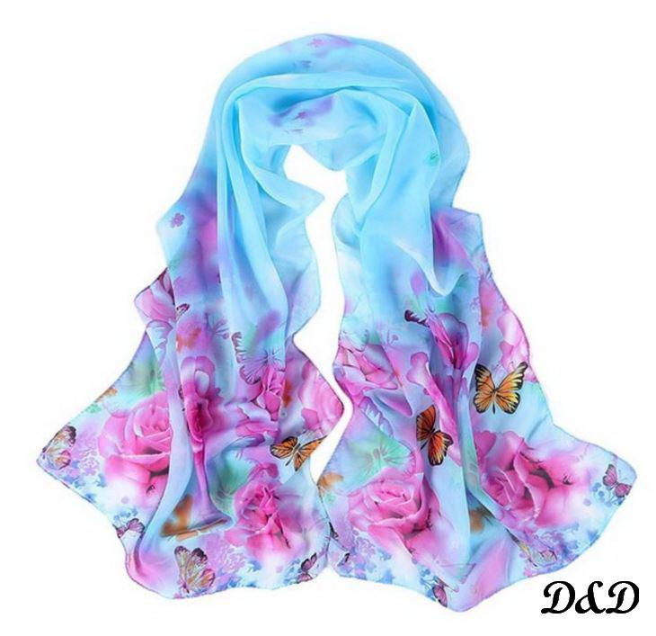 Шарф женский шифоновый голубой