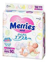 Подгузники Merries для новорожденных NB 0-5 кг 90 шт.