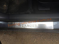 Накладки на пороги Omsa на Mitsubishi Lancer 10 2007-2016 седан