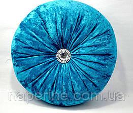 Декоративная подушка круглая в восточном стиле бирюзовая