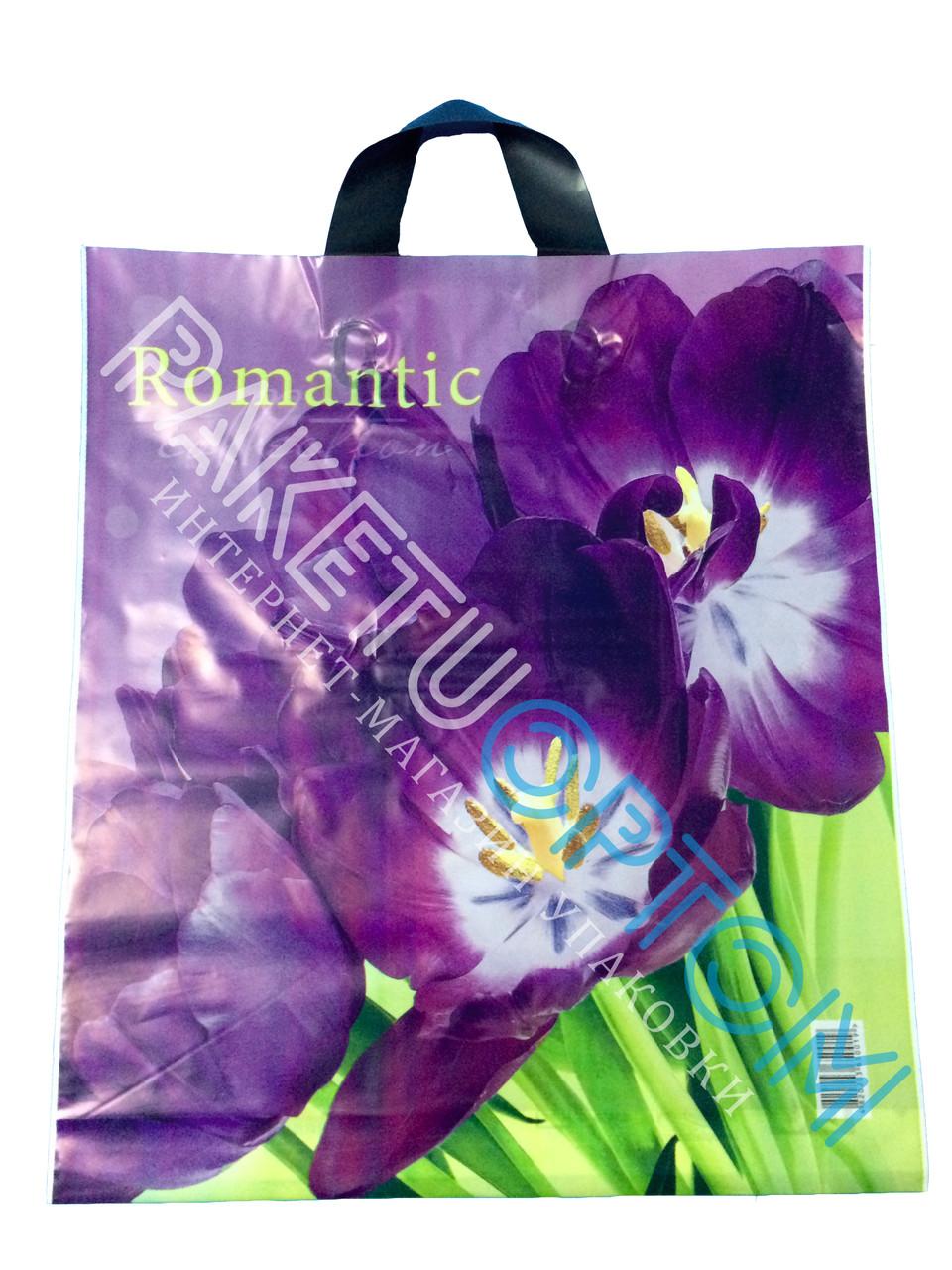 """Пакет с петлевой ручкой (пакет-петля) """"Purple tulip"""""""