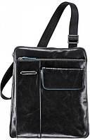 Прочная кожаная сумка через плечо для мужчин Piquadro Blue Square, CA1815B2_N черный