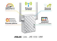 Точка доступа-усилитель Asus RP-N12, White, 802.11n, 300Mbps, RJ45 for 10/100 BaseT for LAN x 1, 2 внешних антенны - 2dBi