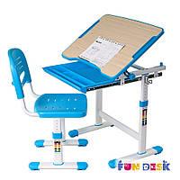 Детская школьная  парта со стульчиком FunDesk Piccolino Blue для дома (голубая)