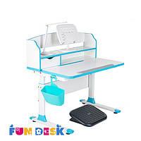 Стол-трансформер для школьника FunDesk Sentire Blue+светодиодная лампа +FunDesk L4
