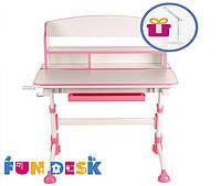 Растущая парта для школьника для дома FunDesk Volare II Pink + лампа L4