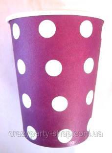 Стакан праздничный фиолетовый в горошек