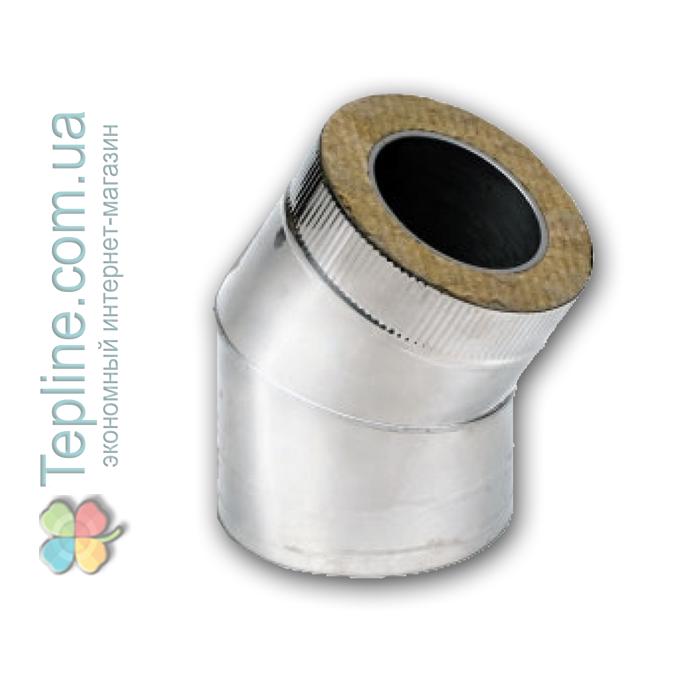 Коліно-сендвіч 45° для димоходу d 150 мм; 0,8 мм; AISI 304; нержавійка/оцинкування - «Версія-Люкс»