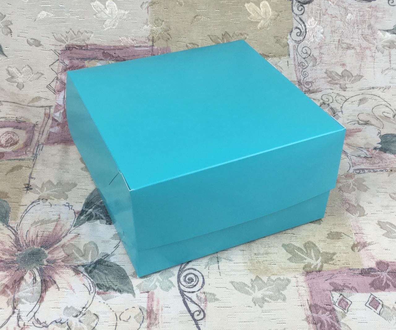 Коробка для 4-ох кексов / 170х170х90 мм / печать-Бирюз / б.о.