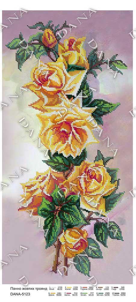 Схема вышивки розы панно