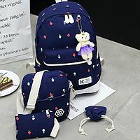 Школьный рюкзак в цветочек 4 в 1