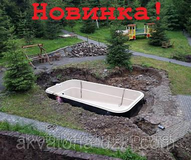 Стекловолоконный бассейн Виктория 7,25х3,30м h=1,20-1,75м
