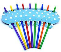 Трубочки для напитков голубые в горошек 10 шт