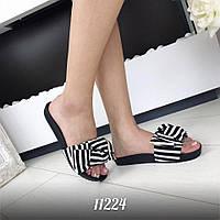 Модные тапочки в морском стиле черно-белого цвета на черной подошве