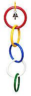 Пластиковая игрушка для попугая (5 колец+ колокольчик)
