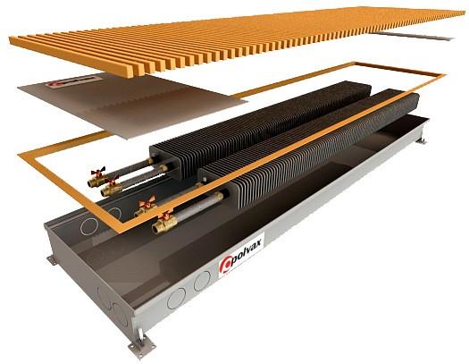Внутрипольные водяные конвекторы с двумя теплообменниками POLVAX КЕM 1250х380х90