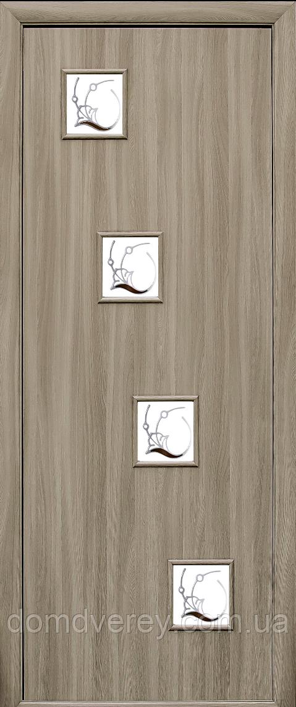 Двери межкомнатные Новый Стиль, КВАДРА, модель Ронда, со стеклом сатин и рисунком Р1