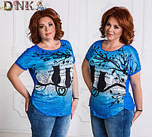Женская футболка цветной принт кошки голубая 4731