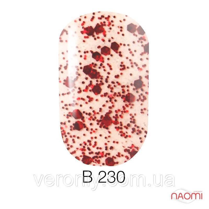 Гель лак Naomi Brilliant Collection, 6 мл. № В-230 (красная чешуя с блестками)