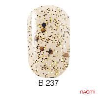 Гель лак Naomi Brilliant Collection, 6 мл. № В-237 (золотистая чешуя с переливающимися блестками)