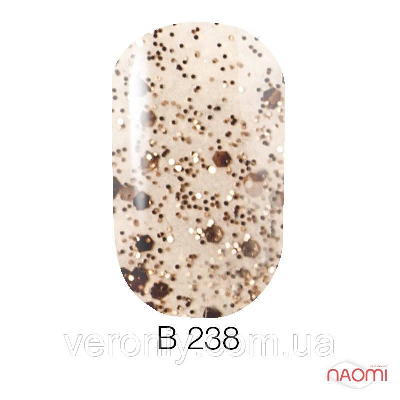Гель лак Naomi Brilliant Collection, 6 мл. № В-238 (бронзовая чешуя с блестками)