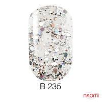 Гель лак Naomi Brilliant Collection, 6 мл. № В-235 (серебристая чешуя с переливающимися блестками)