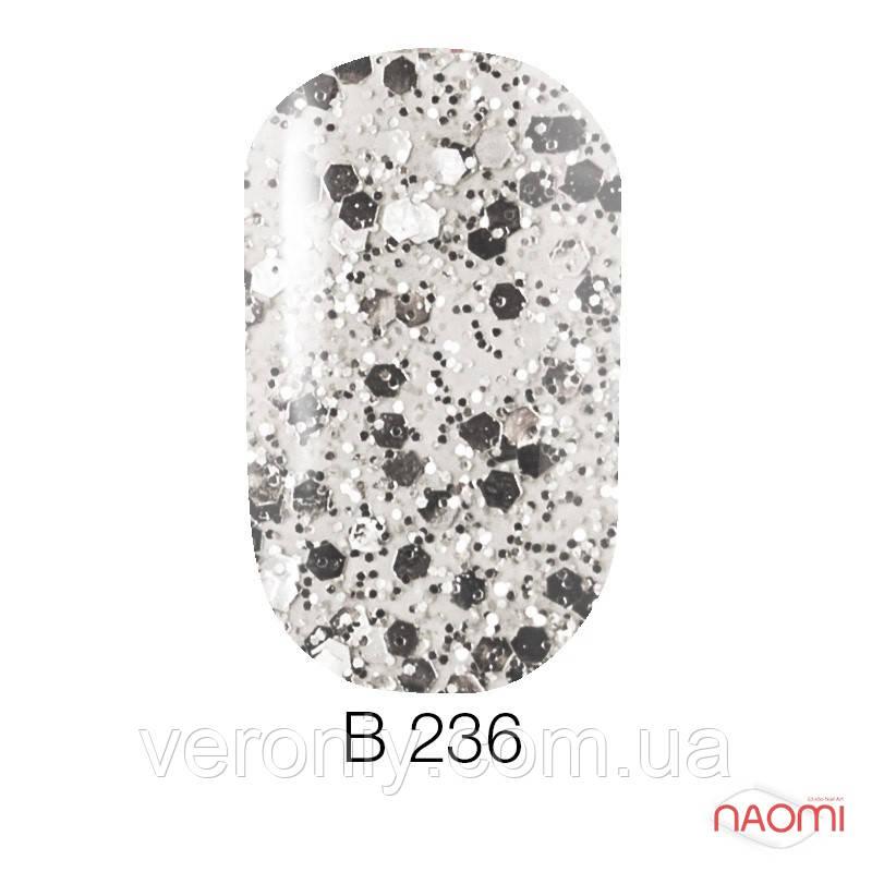 Гель лак Naomi Brilliant Collection, 6 мл. № В-236 (серебристая чешуя с блестками)