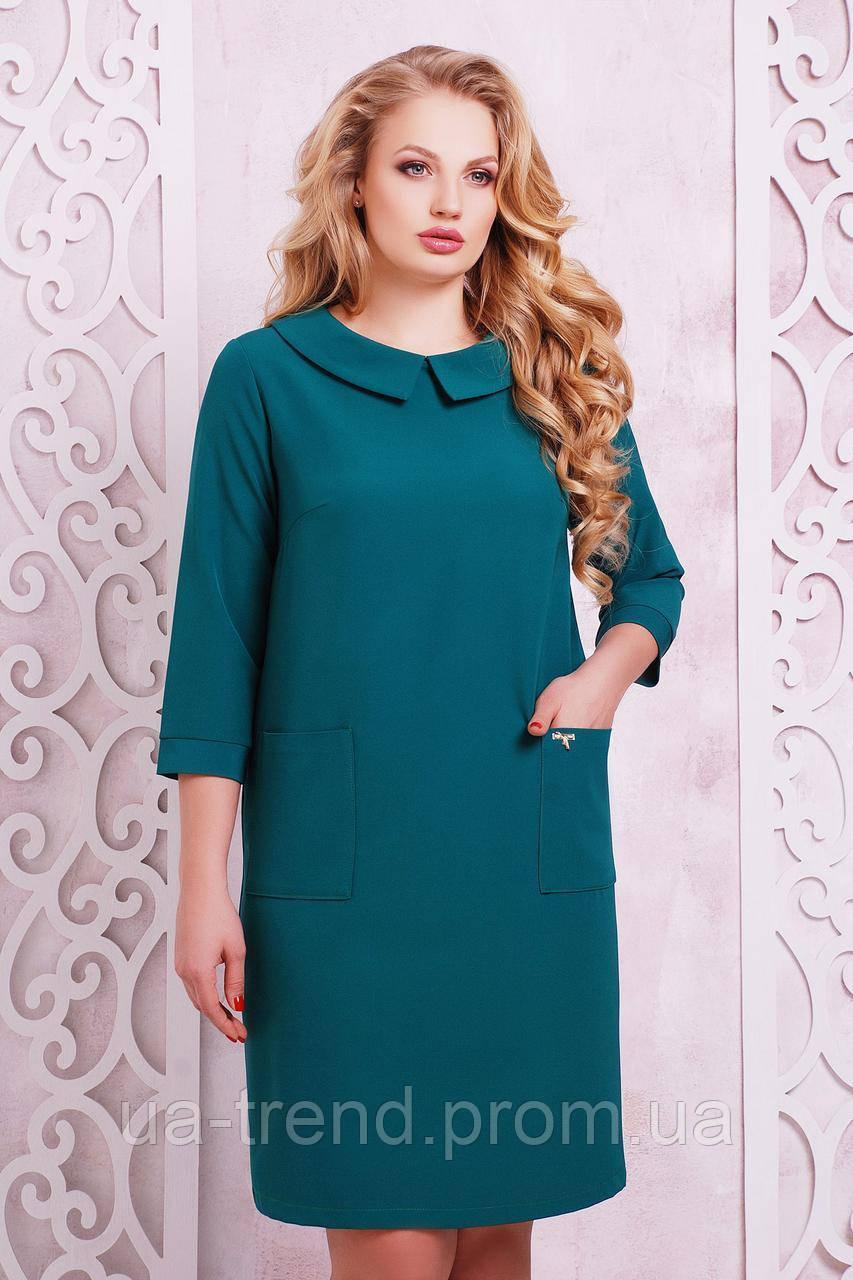 Платье с карманами зеленого цвета 50-54