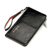 Baellerry Leather, мужской чёрный кошелек-клатч на руку
