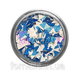 Треугольники - 03 голубой, белый