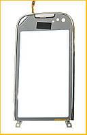 Сенсор (тачскрин) Nokia C7 с рамкой Silver Original