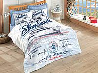 Хлопковый комплект постельного белья ЕВРО размера Cotton Box HARBORS MAVI CB03