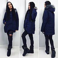 Женская куртка с мехом под чернобурку  НОРМА