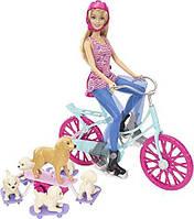 Кукла Барби на велосипеде с щенками Barbie