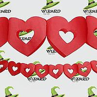 Гирлянда 3D Сердечко с вырезом (красное)
