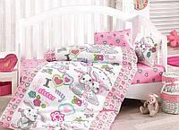 Детское постельное белье с зайчиками  Cotton Box Tavsan Kardes Pembe