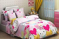Детское полуторное постельное белье Hello Kitty (Т0390)