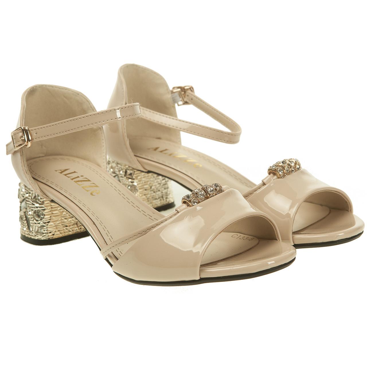2e1e3ace5 Босоножки женские ALiZZe (лаковые, бежевые, оригинальный каблук, удобные)