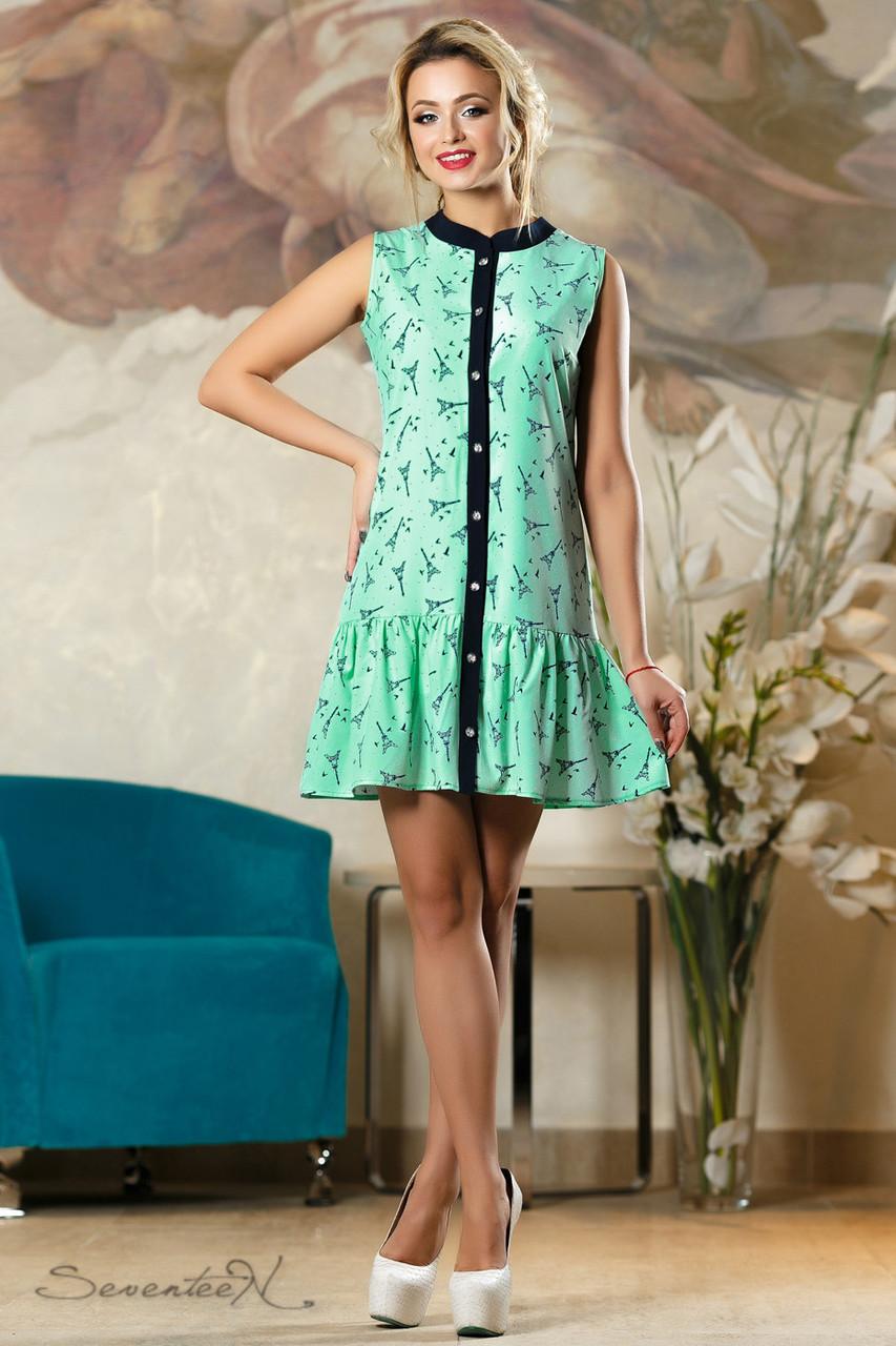 Красивое  летнее  платье 2145 зеленый