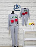 Модный костюм мама-дочка с вишнями
