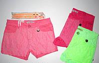 Котоновые короткие шорты для девочек с кружевом 134,140,146,152,158,164р.