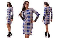 Женское платье с кожаным рукавом