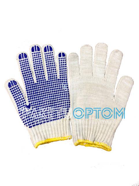 Перчатки рабочие с точками пвх плотные (белые с синей точкой)