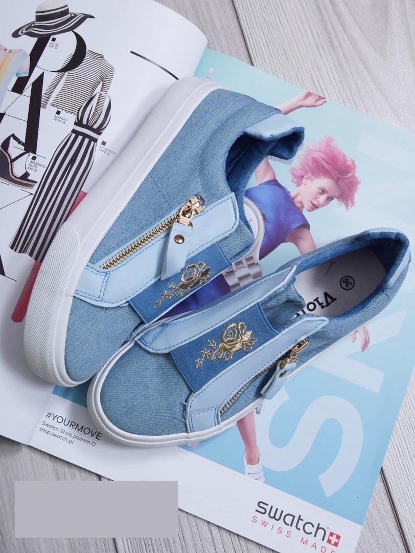 34d1d246 Слипоны (кеды) женские голубые с резинкой и молнией - магазин женской обуви  Lady Vogue