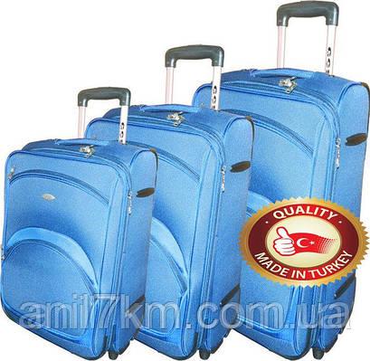 Комплект 3-ка турецких чемоданов фирмы CCS на  колёсах