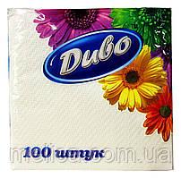 Салфетки бумажные Диво белые 1 слой 33 х 33 см - 100 шт.