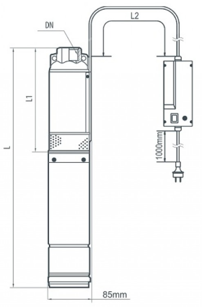 габаритные размеры скважинного насоса «Насосы+» БЦП 2.4–32У*_1
