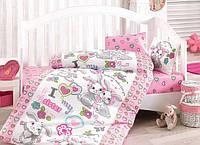 Детское постельное белье в кроватку с котятами, зайчиками, слониками и драконами.