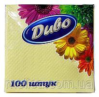 Салфетки бумажные Диво желтые 1 слой 33 х 33 см - 100 шт.