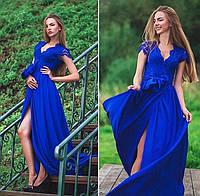 Длинное платье в пол с кружевным верхом 65